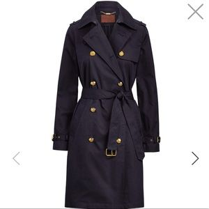 Ralph Lauren Navy Cotton Twill Trench Coat NEW